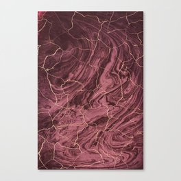 Cracked brown red marble paint Canvas Print