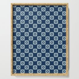 Square Motif Grid Japanese Style Hand Drawn Indigo Quilt Serving Tray