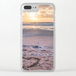 Love note Te Amo with the heart drawing on the beach at sunrise Clear iPhone Case