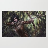 katniss Area & Throw Rugs featuring Katniss by jasric