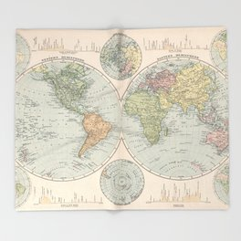 Vintage Map of The World (1892) Throw Blanket