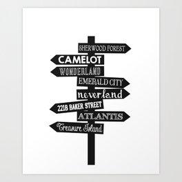 Lands of Imagination Sign Posts Art Print