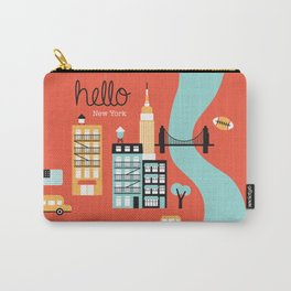 Hello New York - retro manhattan NYC icons illustration Carry-All Pouch