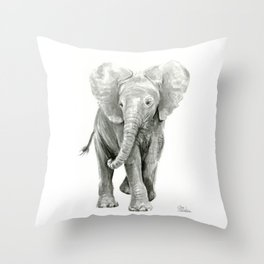 Baby Elephant Watercolor Throw Pillow