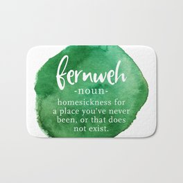 Fernweh Word Nerd - Green Watercolor Bath Mat