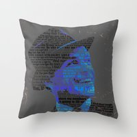 frank sinatra Throw Pillows featuring Typographic Icons - Frank Sinatra by Ben Sidney Rhys-Lewis