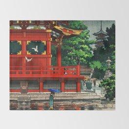 In the rain-Asakusa Sensouji temple Throw Blanket