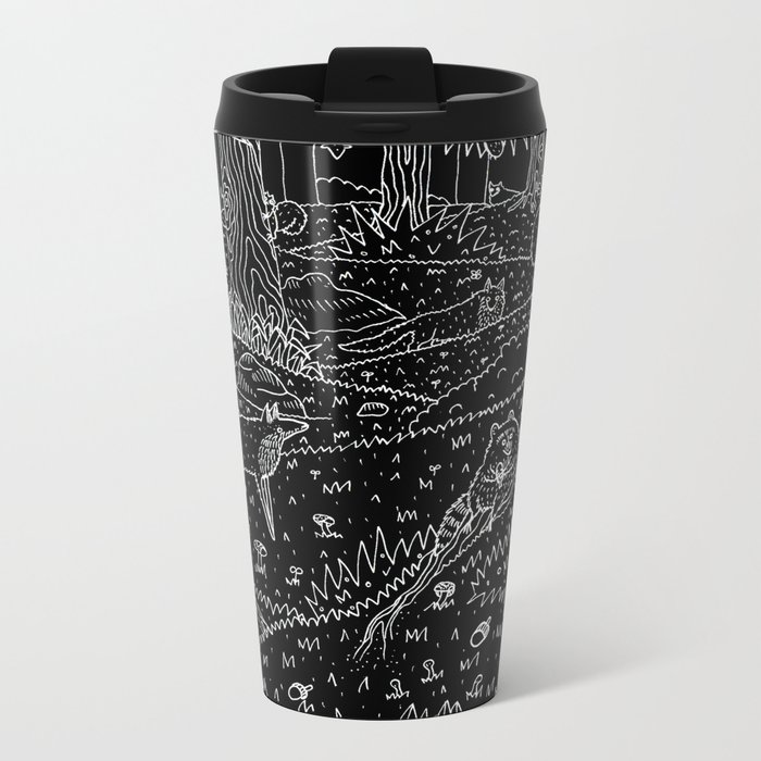 Nocturnal Animals of the Forest Metal Travel Mug