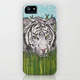 White tiger in wild grass iPhone Case