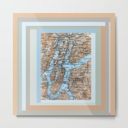 Lugano Italy map, blue terracotta antique vintage Metal Print