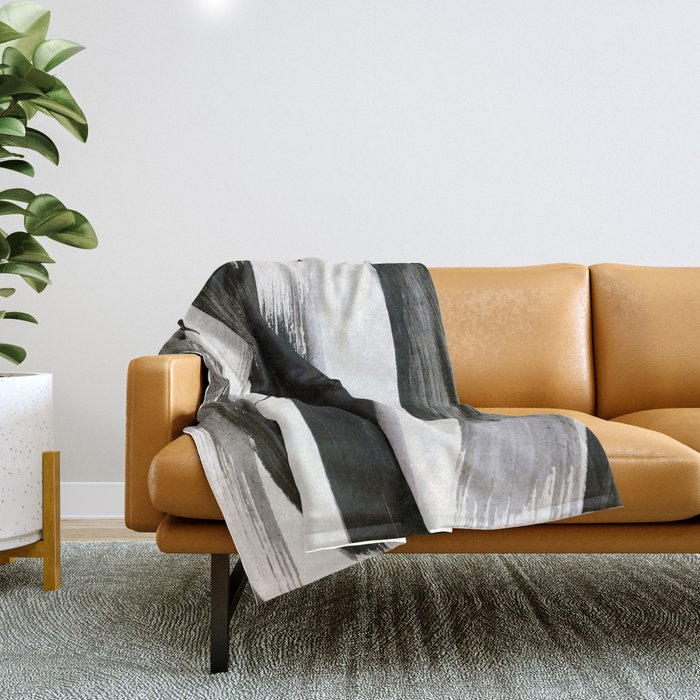 Brushstroke 9: a bold, minimal, black and white abstract piece Throw Blanket