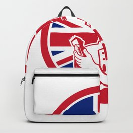 British Barber Union Jack Flag Icon Backpack