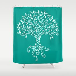 Tree of Life Teal Shower Curtain