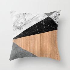 Marble, Garnite, Teak Wood Abstract Throw Pillow