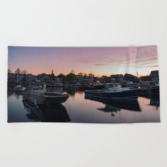 Rockport Harbor at twilight Beach Towel