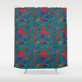 Pattern with Firebirds (on dark green background) Shower Curtain
