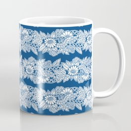 Fantasy floral stripes doodle pattern Coffee Mug
