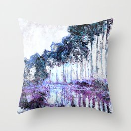 Monet : Poplars Lavender Periwinkle Deep Blue Throw Pillow