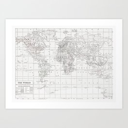 World Map ~ White on White Art Print