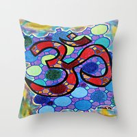 om Throw Pillows featuring OM by Art By Carob