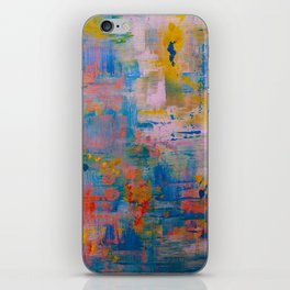 Summer in the Park, Blue Abstract Painting, Abstract wall art iPhone Skin