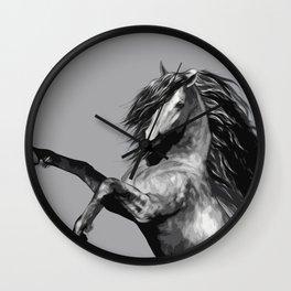 Horse. Blalck and wild. Wall Clock