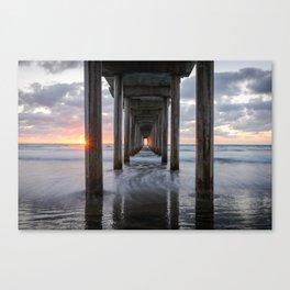 SCRIPPS PIER OCEAN SUNSET LA JOLLA CALIFORNIA PHOTOGRAPHY Canvas Print