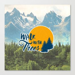 Walk With Trees - Orange and Blue Canvas Print