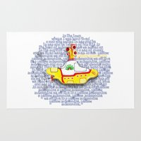 yellow submarine Area & Throw Rugs featuring Yellow Submarine by Anaïs Rivola
