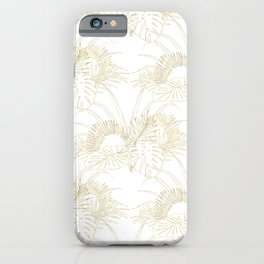 Elegant tropical leaves golden strokes design iPhone Case