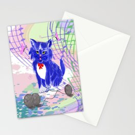 Blue kitty illustration  Stationery Cards