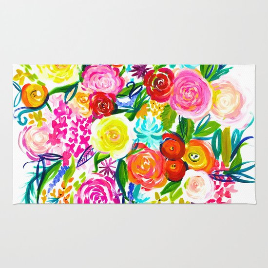 Bright Colorful Floral Painting Rugs