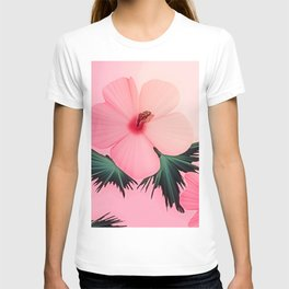 Tropical Pink Hibiscus Flower Print T-shirt