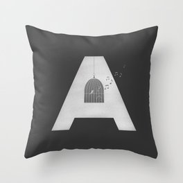 """A - Maja Angelou """"I know why the caged bird sings"""" Throw Pillow"""