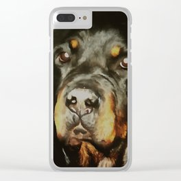 Dogs Lover Rottweiler Pet Portrait Clear iPhone Case