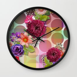 Flowers, Circles, & Colorful Abstract Wall Clock