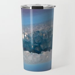 Sparkly Purple and Blue Geode Agate with Crystal Druzy Travel Mug