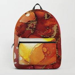 Golden Flame Abstract Ink - Part 1 Backpack