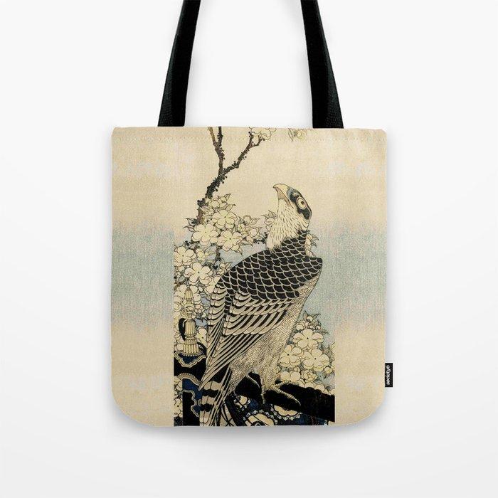 Hokusai -falcon next to a plum tree in bloom - 葛飾 北斎,hawk,bird. Tote Bag