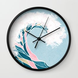 Surf X // Cali Beach Summer Surfing Rip Curl Gold Pink Aqua Abstract Ocean Wave Wall Clock