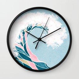 Surf X // Cali Beach Summer Surfing Rip Curl Gold Pink Aqua Abstract Ocean Wave Wall Clock