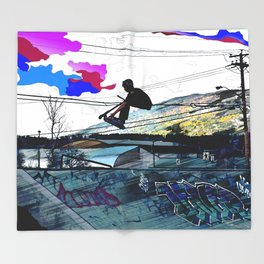 Let's Scoot! - Stunt Scooter at Skate Park Throw Blanket