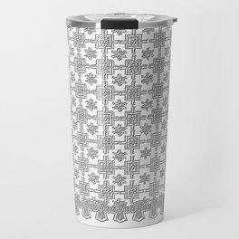 Vintage White Crochet Square Lace Pattern Travel Mug