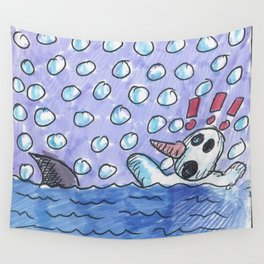 Christmas #3 Snow Shark Attack Wall Tapestry
