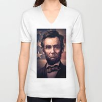 lincoln V-neck T-shirts featuring Lincoln by Dominick Saponaro