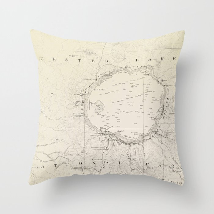 Crater Lake Vintage Map Throw Pillow