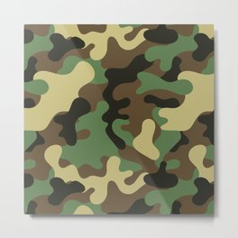 Classic Camouflage Pattern Metal Print