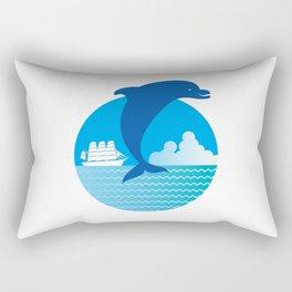 Dolphin and ship_E Rectangular Pillow