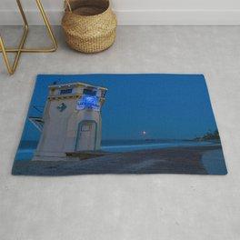 Moonset From Main Beach Rug