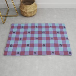 Gingham flower mix Rug